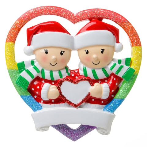OR1666-F - Rainbow Heart Same Sex Couple (Female) Personalized Christmas Ornament