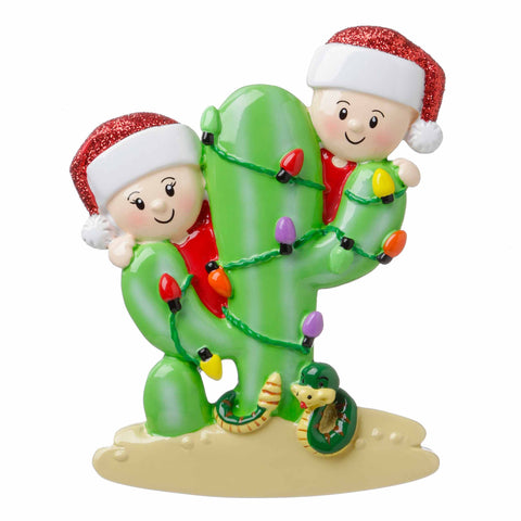 OR1673-2 - Cactus Family of 2 Personalized Christmas Ornament