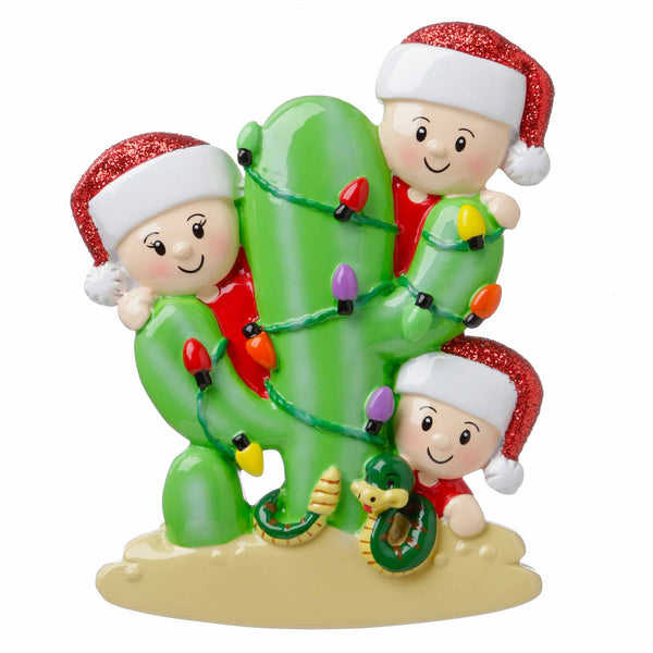 OR1673-3 - Cactus Family of 3 Personalized Christmas Ornament