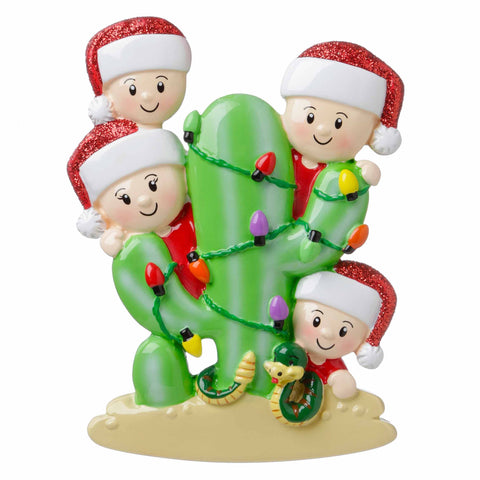 OR1673-4 - Cactus Family of 4 Personalized Christmas Ornament