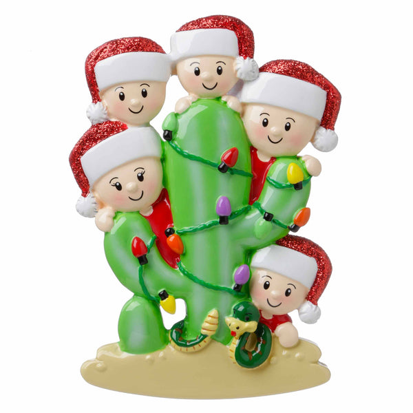 OR1673-5 - Cactus Family of 5 Personalized Christmas Ornament