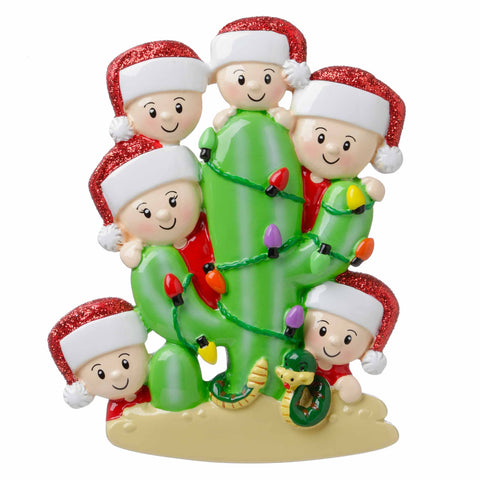 OR1673-6 - Cactus Family of 6 Personalized Christmas Ornament