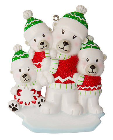 OR1675-3 - Single Mom with 3 Children Personalized Christmas Ornament
