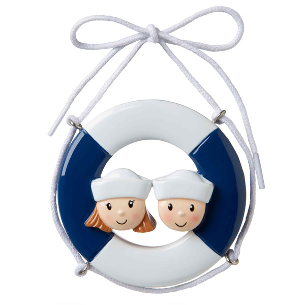 OR1676-2 - Cruise Ship Family of 2 Personalized Christmas Ornament