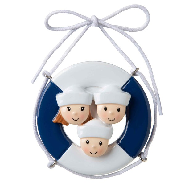 OR1676-3 - Cruise Ship Family of 3 Personalized Christmas Ornament