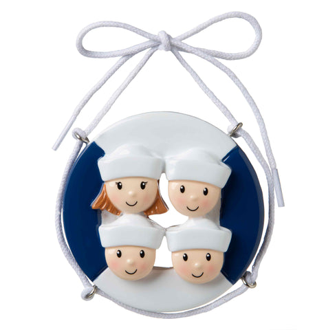 OR1676-4 - Cruise Ship Family of 4 Personalized Christmas Ornament