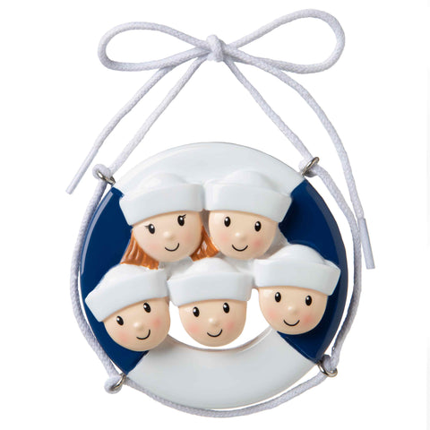 OR1676-5 - Cruise Ship Family of 5 Personalized Christmas Ornament