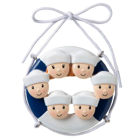 OR1676-6 - Cruise Ship Family of 6 Personalized Christmas Ornament