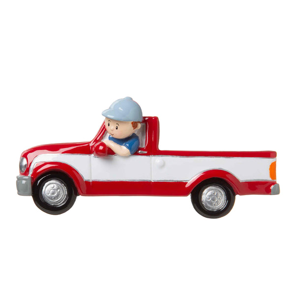 OR1678 - Man in Red Pickup Truck Personalized Christmas Ornament