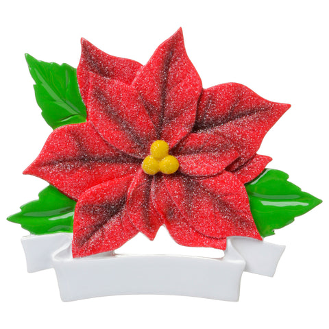 OR1692-R - Red Poinsetta Personalized Christmas Ornament