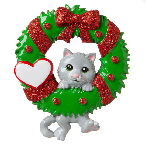 OR1705 - Cat Hanging from a Wreath Personalized Christmas Ornament