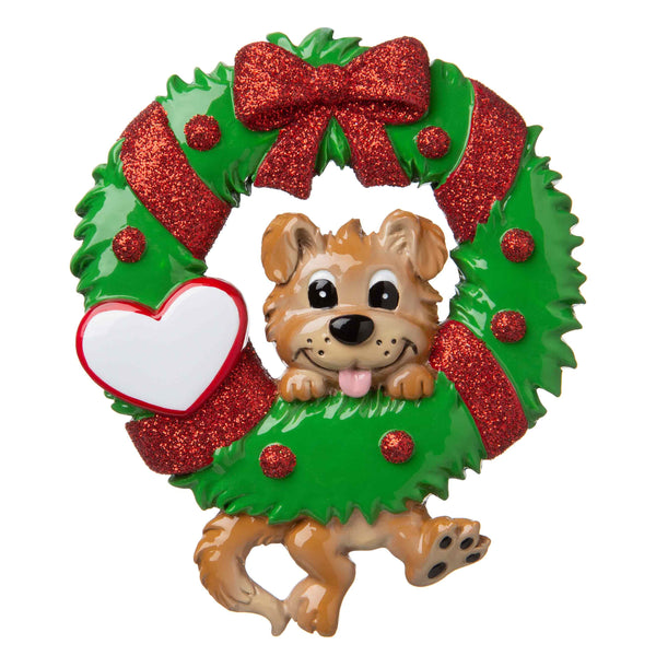 OR1706 - Dog Hanging from a Wreath Personalized Christmas Ornament