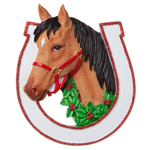 OR1708-BR - Brown Horse Personalized Christmas Ornament