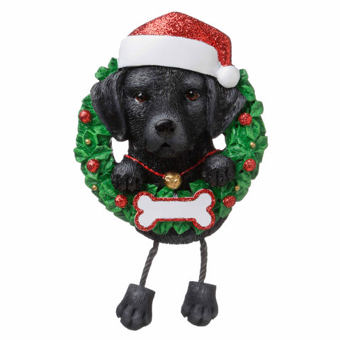 OR1712-BL - Black Lab (Pure Breed) Personalized Christmas Ornament