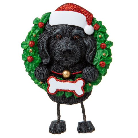 OR1712-LD/BK - Labradoodle Black (Pure Breed) Personalized Christmas Ornament