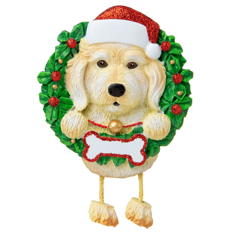 OR1712-LD/WH - Labradoodle White (Pure Breed) Personalized Christmas Ornament