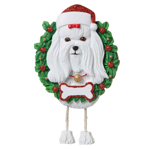 OR1712-MA - Maltese (Pure Breed) Personalized Christmas Ornament