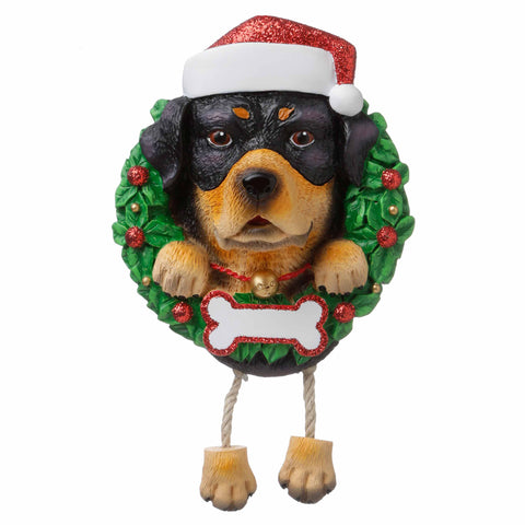 OR1712-RO - Rottweiler (Pure Breed) Personalized Christmas Ornament