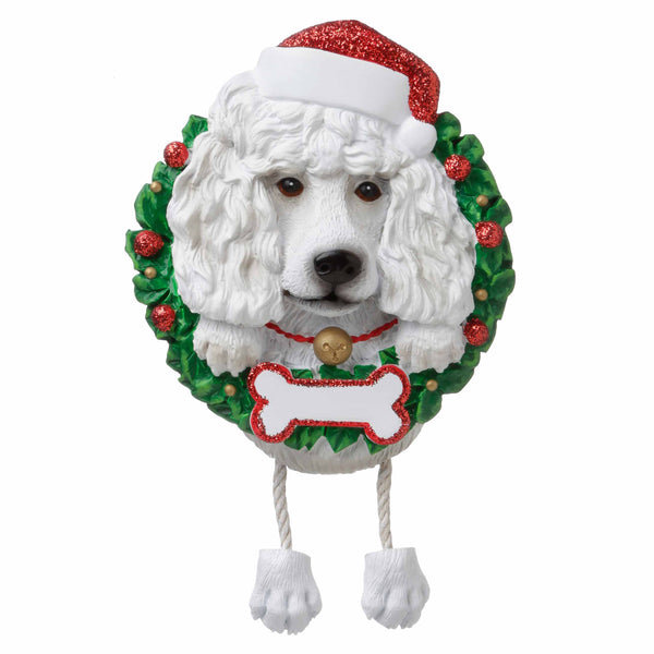 OR1712-WP - White Poodle (Pure Breed) Personalized Christmas Ornament