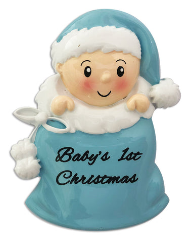 OR1715-B - Baby Boy in Santa Sack (Blue) Personalized Christmas Ornament