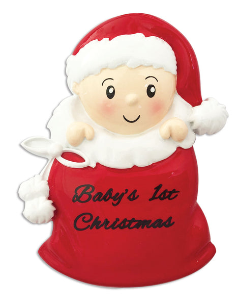 OR1715-R - Baby In Santa Sack (Red) Personalized Christmas Ornament