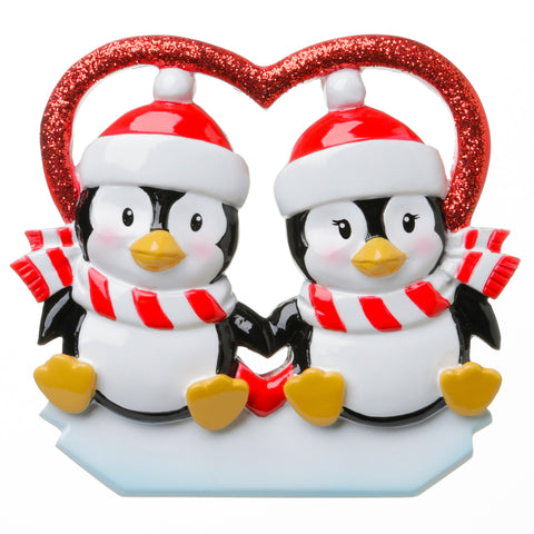 OR1721 - Penguins In Glitter Heart Personalized Christmas Ornament