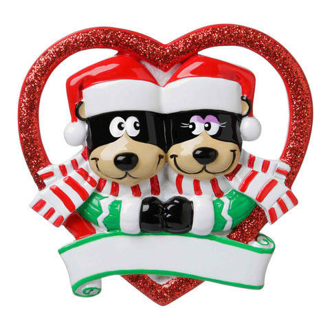 OR1723 - Black Bear Couple in Glitter Heart Personalized Christmas Ornament