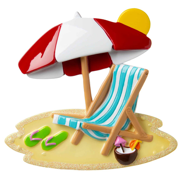 OR1724 - Beach Chair with Umbrella Personalized Christmas Ornament