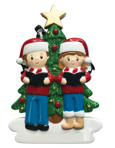 OR1731-2 - Caroling Family of 2 Personalized Christmas Ornament