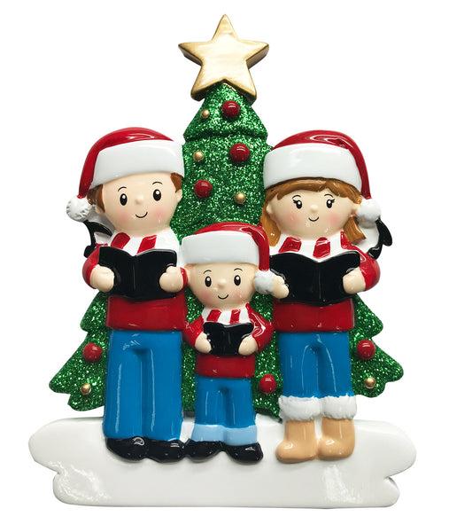 OR1731-3 - Caroling Family of 3 Personalized Christmas Ornament