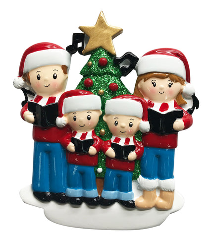 OR1731-4 - Caroling Family of 4 Personalized Christmas Ornament