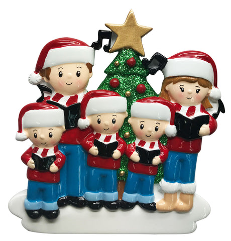 OR1731-5 - Caroling Family of 5 Personalized Christmas Ornament