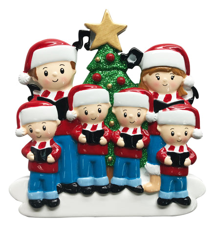 OR1731-6 - Caroling Family of 6 Personalized Christmas Ornament