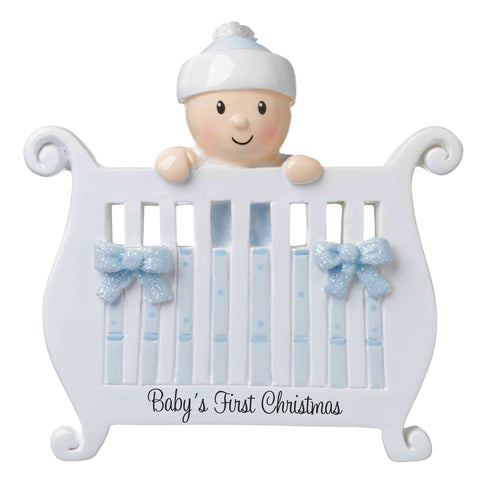 OR1732-B - Baby (Boy) in Crib Personalized Christmas Ornament