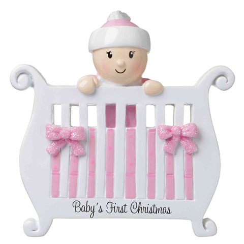 OR1732-P - Baby (Girl) in Crib Personalized Christmas Ornament