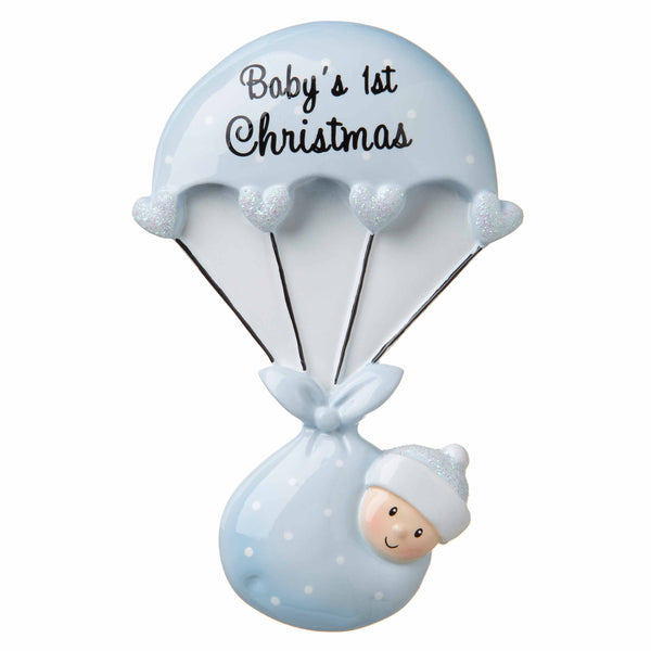 OR1735-B - Baby Bundle Parachute (Blue) Personalized Christmas Ornament