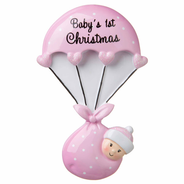 OR1735-P - Baby Bundle Parachute (Pink) Personalized Christmas Ornament