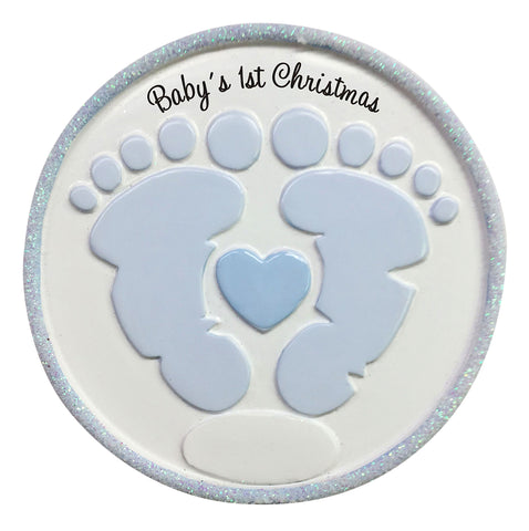 OR1736-B - Foot Prints (Blue) Personalized Christmas Ornament