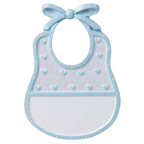 OR1737-B - Baby Bib (Blue) Personalized Christmas Ornament