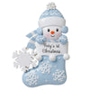 OR1738-B - Baby Snowman in Stocking (Blue) Personalized Christmas Ornament