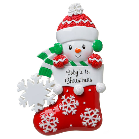 OR1738-GR - Baby Snowman in Stocking (Green & Red) Personalized Christmas Ornament