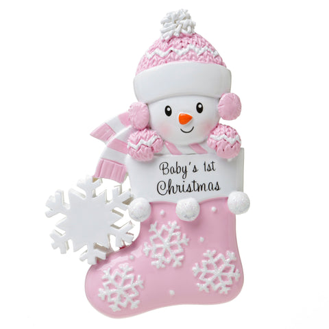 OR1738-P - Baby Snowman in Stocking (Pink) Personalized Christmas Ornament