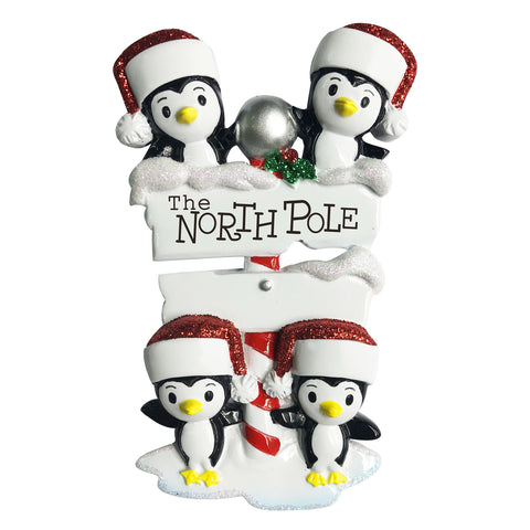 OR1739-4 - North Pole Penguin Family of 4 Personalized Christmas Ornament