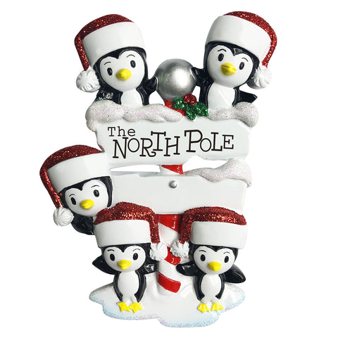 OR1739-5 - North Pole Penguin Family of 5 Personalized Christmas Ornament