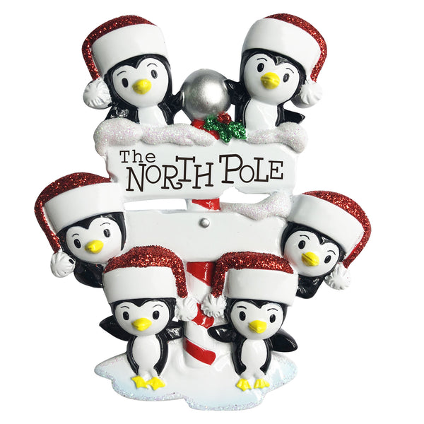 OR1739-6 - North Pole Penguin Family of 6 Personalized Christmas Ornament