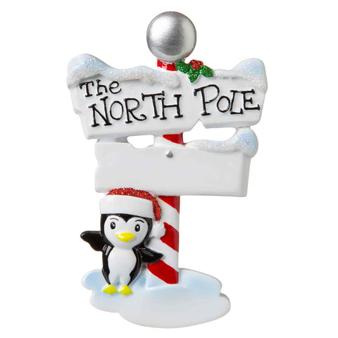 OR1739 - North Pole Sign Personalized Christmas Ornament