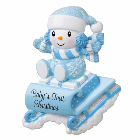 OR1742-B - Snowbaby on Sled (Blue) Personalized Christmas Ornament