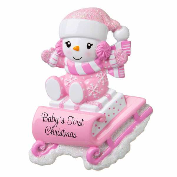 OR1742-P - Snowbaby on Sled (Pink) Personalized Christmas Ornament