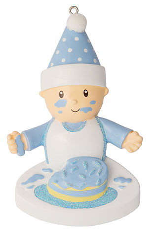 OR1744-B - Baby with Their Face in the Cake (Boy) Personalized Christmas Ornament