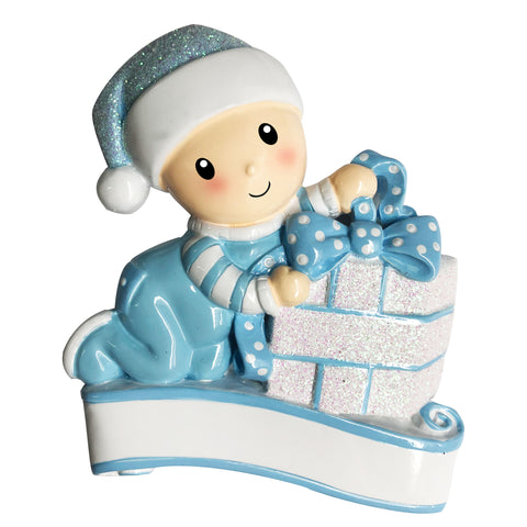 OR1745-B - Baby Opening Presents (Light Blue) Personalized Christmas Ornament
